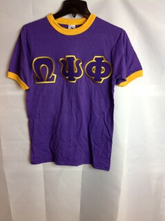 Super Savings - Omega Psi Phi Lettered Ringer Shirt - Purple - Gold