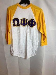 Super Savings - Omega Psi Phi Raglan Shirt - White - Gold