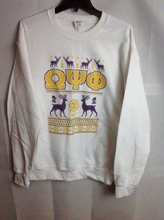 Super Savings - Omega Psi Phi Ugly Christmas Sweater Crewneck - White