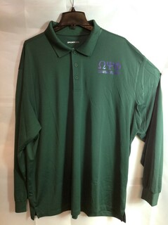 Super Savings - Omega Psi Phi World Famous Long Sleeve Dry Fit Polo - Green