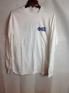 Super Savings - Phi Beta Sigma World Famous Crest Long Sleeve T-Shirt - White