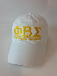 Super Savings - Phi Beta Sigma World Famous Line Hat - WHITE w GOLD LETTERS