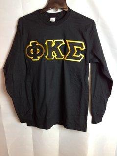 Super Savings - Phi Kappa Sigma Lettered Long Sleeve Tee - Black