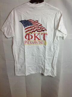 Super Savings - Phi Kappa Tau Limited Edition Patriots Tee (design on back letters on front) - White