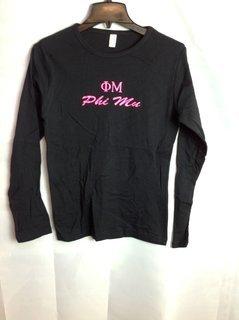 Super Savings - Phi Mu Letter Long Sleeve T-Shirt - Black