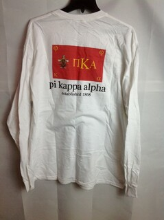 Super Savings - Pi Kappa Alpha Flag Long Sleeve T-Shirt - White