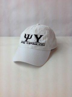 Super Savings - PSI Upsilon World Famous Line Hat - WHITE w BLACK LETTERS