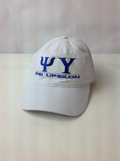Super Savings - Psi Upsilon World Famous Line Hat - WHITE w ROYAL LETTERS