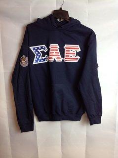 Super Savings - Sigma Alpha Epsilon American Flag Hoodie with Crest - Shield on sleeve - Navy