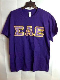Super Savings - Sigma Alpha Epsilon Fraternity Crest - Shield Twill Lettered Tee - Purple