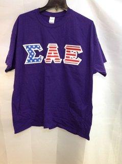 Super Savings - Sigma Alpha Epsilon Greek Lettered American Flag Tee - Purple