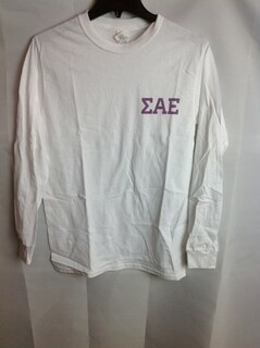 Super Savings - Sigma Alpha Epsilon Letter Long Sleeve Tee -  White