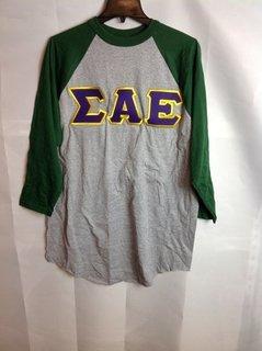 Super Savings - Sigma Alpha Epsilon Lettered Raglan Shirt - Gray - Green