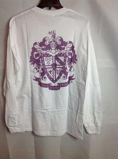 Super Savings - Sigma Alpha Epsilon World Famous Crest Long Sleeve T-Shirt - White - L