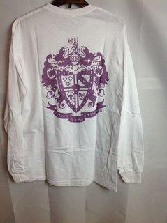 Super Savings - Sigma Alpha Epsilon World Famous Crest Long Sleeve T-Shirt - White - XXL