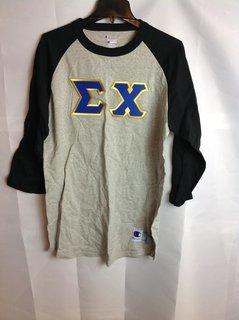 Super Savings - Sigma Chi Lettered Raglan Shirt - Gray - Black