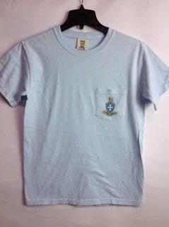 Super Savings - Sigma Chi Short Sleeve Crest - Shield Pocket Tee 1 of 2 SMALL - PASTEL BLUE