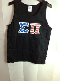Super Savings - Sigma Nu American Flag Greek Lettered Tank Top - Black