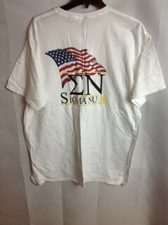 Super Savings - Sigma Nu Limited Edition Patriots T-Shirt (design on back letters on front) - White