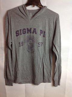 Super Savings - Sigma Pi Triblend Long Sleeve Hoodie - Gray