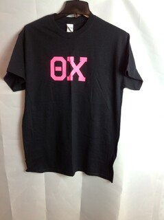 Super Savings - Theta Chi Hot Pink Lettered Tee - Black