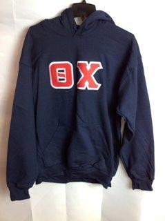 Super Savings - Theta Chi Lettered Hooded Sweatshirt - Navy