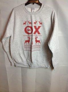 Super Savings - Theta Chi Ugly Christmas Sweater Crewneck - Gray