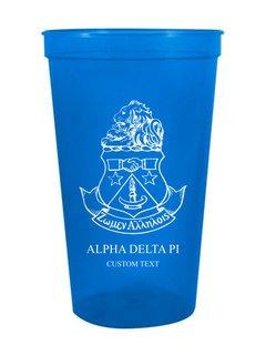 Alpha Delta Pi Custom Greek Crest Letter Stadium Cup