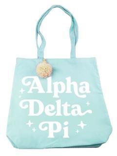 Alpha Delta Pi Retro Pom Pom Tote Bag