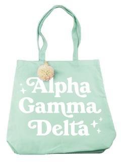 Alpha Gamma Delta Retro Pom Pom Tote Bag