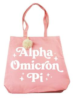 Alpha Omicron Pi Retro Pom Pom Tote Bag