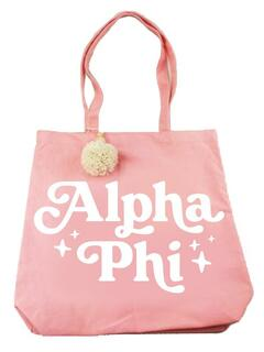 Alpha Phi Retro Pom Pom Tote Bag