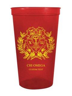 Chi Omega Custom Greek Crest Letter Stadium Cup