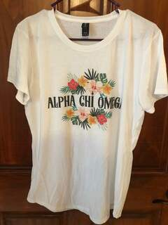 New Super Savings - Alpha Chi Omega Floral Tribal Tee - WHITE