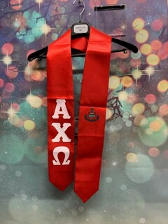 New Super Savings - Alpha Chi Omega Greek Lettered Graduation Sash Stole with Crest - RED 1 of 3