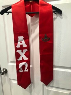New Super Savings - Alpha Chi Omega Greek Lettered Graduation Sash Stole With Crest - RED