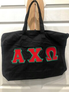New Super Savings - Alpha Chi Omega Lettered Tote Bag - BLACK