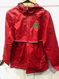 New Super Savings - Alpha Chi Omega New Englander Circle Monogram Rain Coat - RED