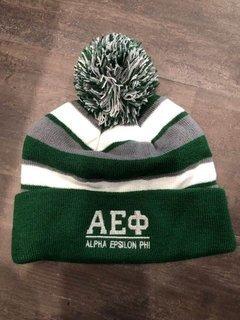 New Super Savings - Alpha Epsilon Phi Lettered Comeback Beanie - GREEN WHITE AND GREY