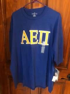 New Super Savings - Alpha Epsilon Pi Lettered T-Shirt - BLUE in size XXL