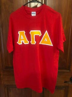 New Super Savings - Alpha Gamma Delta Lettered Tee - RED 1 of 2