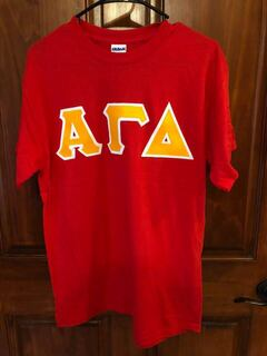 New Super Savings - Alpha Gamma Delta Lettered Tee - RED