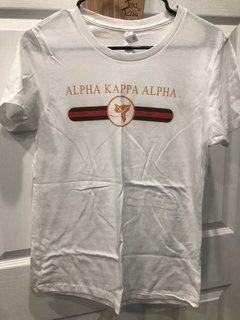 New Super Savings - Alpha Kappa Alpha Boyfriend Golden Crew Tee - WHITE