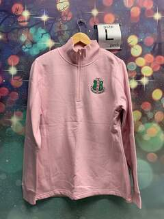 New Super Savings - Alpha Kappa Alpha Crest Shield Patch Quarter Zip Pullover - PINK