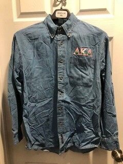 New Super Savings - Alpha Kappa Alpha Denim Shirt - Signature Emblem - DENIM