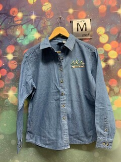 New Super Savings - Alpha Kappa Alpha Denim Shirt - Tail - DENIM
