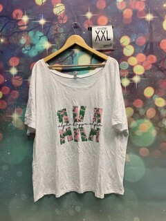 New Super Savings - Alpha Kappa Alpha Floral Big Lettered T-Shirt - WHITE