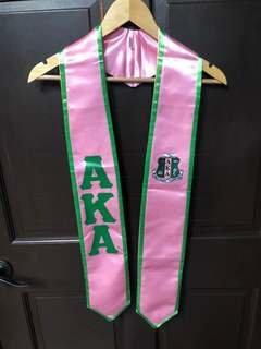 New Super Savings - Alpha Kappa Alpha Greek 2 Tone Lettered Graduation Sash Stole - PINK AND GREEN