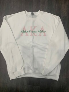 New Super Savings - Alpha Kappa Alpha Greek Type Crewneck Sweatshirt - WHITE