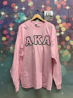 New Super Savings - Alpha Kappa Alpha Lettered Long Sleeve T-Shirt - PINK